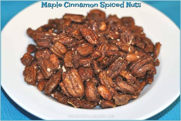 Maple cinnamon spiced nuts are a great snack, featuring pecans, cashews and almonds coated with maple syrup, sugar and spices, then baked until done.