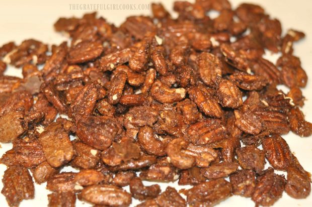 Maple Cinnamon Spiced Nuts after baking and drying