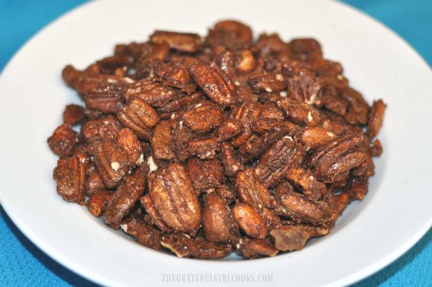 Maple Cinnamon Spiced Nuts served in white bowl