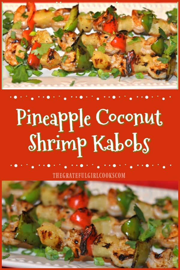 Shrimp (marinated in coconut milk and citrus sauce), pineapple chunks, and red and green bell peppers are grilled on skewers and taste fantastic!