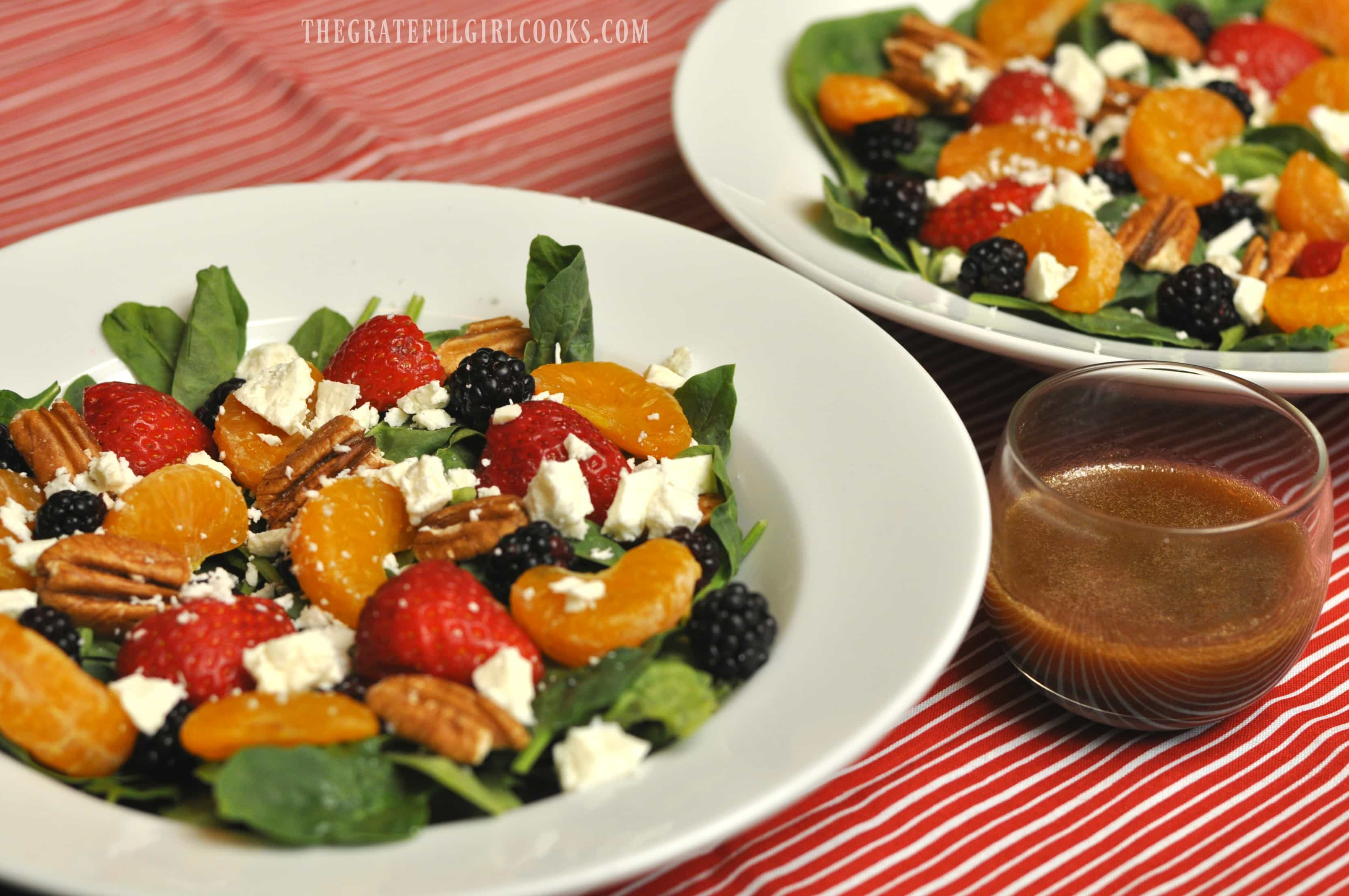 Berry and Orange Spinach Salad with Citrus Balsamic Vinaigrette / The Grateful Girl Cooks!