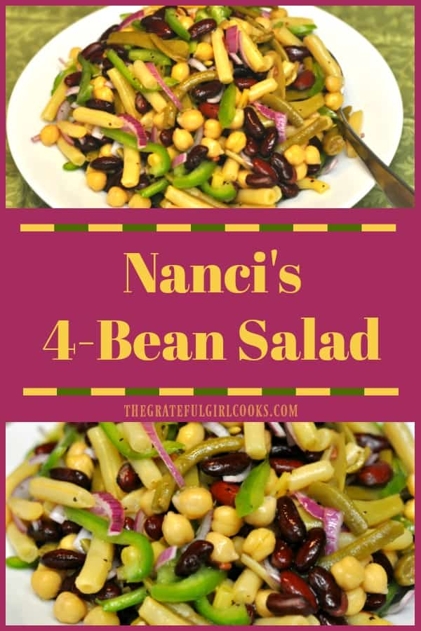 This DELICIOUS, 4-Bean Salad is easy to make from scratch in 10 minutes, and is a perfect side dish for family celebrations, picnics, or potlucks!