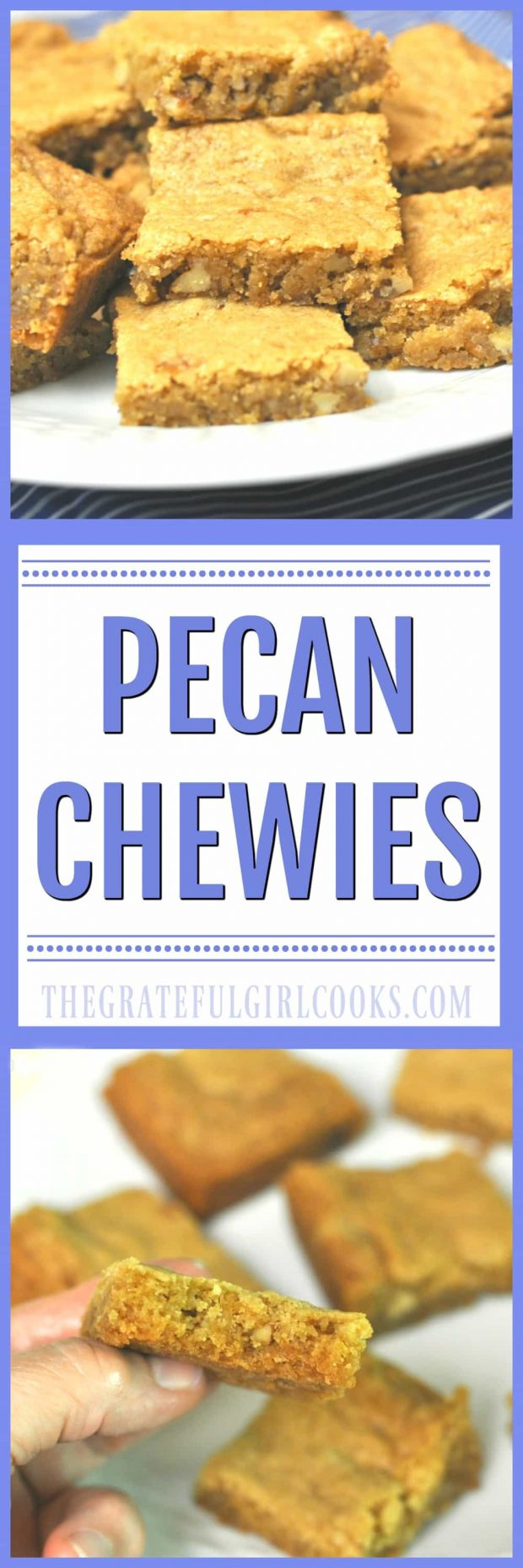 Pecan Chewies / The Grateful Girl Cooks! Make two dozen of these EASY, delicious, chewy, buttery bar cookies in no time at all!