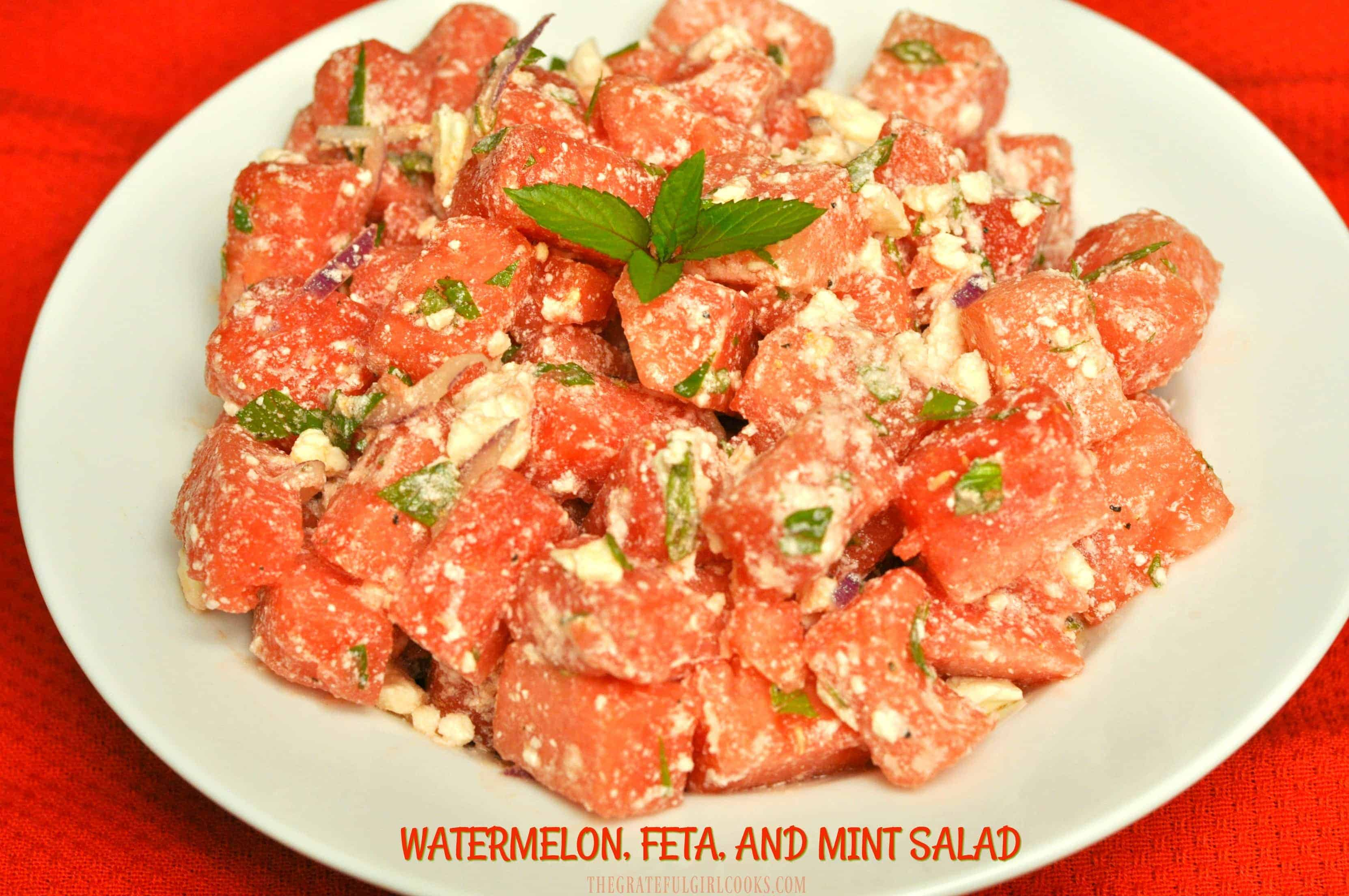 Watermelon, Feta, and Mint Salad / The Grateful Girl Cooks!