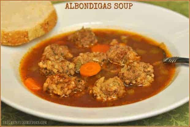 "Delicious Albondigas (""little meatball"") Soup is an easy, inexpensive, Southwestern flavored dish to prepare, and can be served as a first course or an entree!"