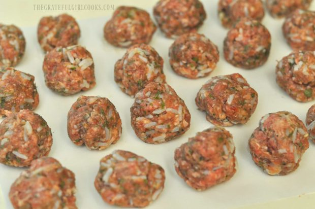 Meatballs formed on wax paper