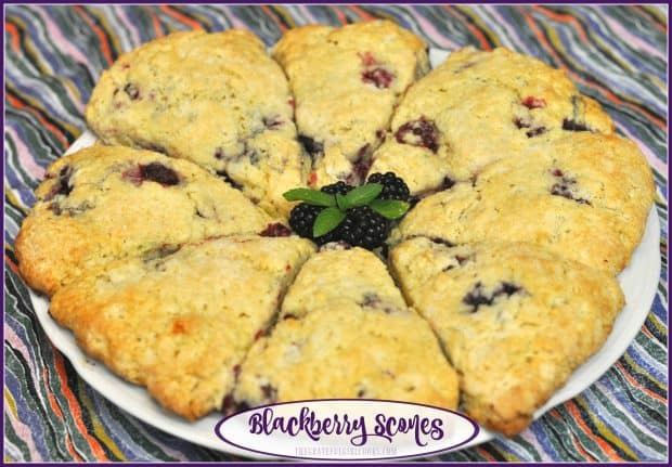 Delicious blackberry scones are easy to make year round, using frozen blackberries! The scones are absolutely perfect for a simple breakfast or afternoon snack.