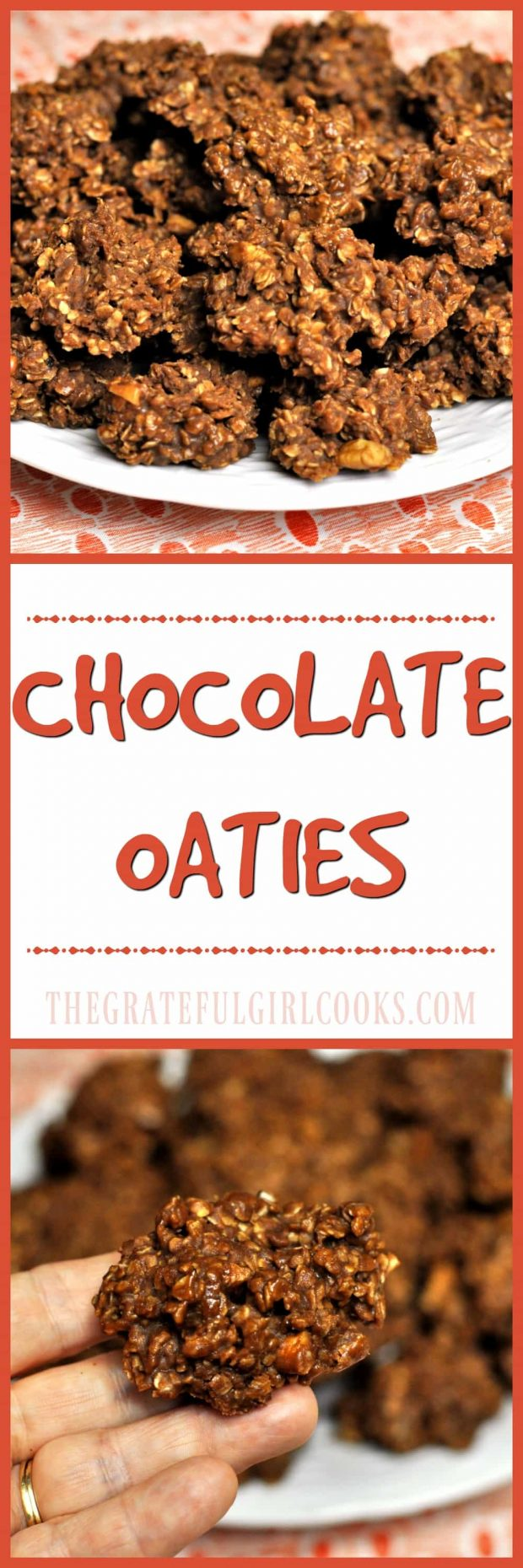 "Chocolate Oaties / The Grateful Girl Cooks! Delicious 10 minute ""no-bake"" drop cookies with chocolate, peanut butter, nuts and oats!"