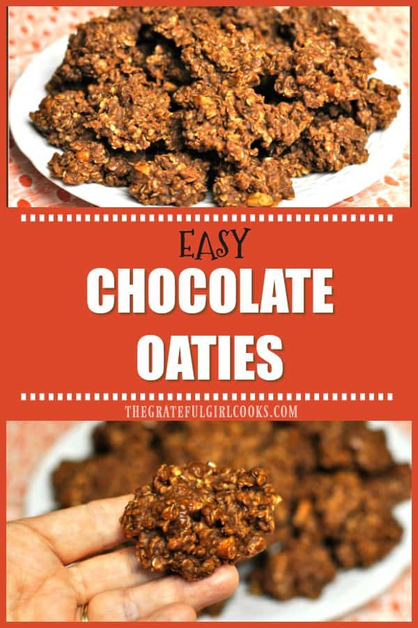 """You're gonna love Chocolate Oaties, delicious and EASY 10 minute """"no-bake"""" drop cookies with chocolate, peanut butter, nuts and oats!"""