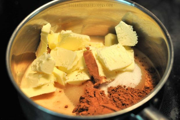 Cocoa, butter, sugar and evaporated milk cook before adding to dry ingredients.