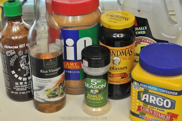 The ingredients used to make homemade hoisin sauce.