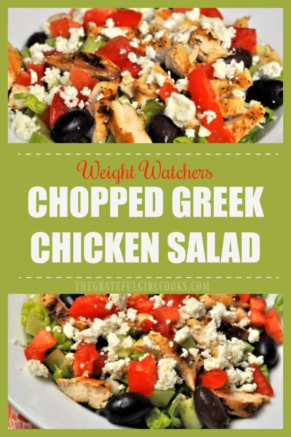 You'll love this Weight Watchers Chopped Greek Chicken Salad, with grilled chicken, feta cheese, kalamata olives, crunchy cucumbers, and a light vinaigrette!