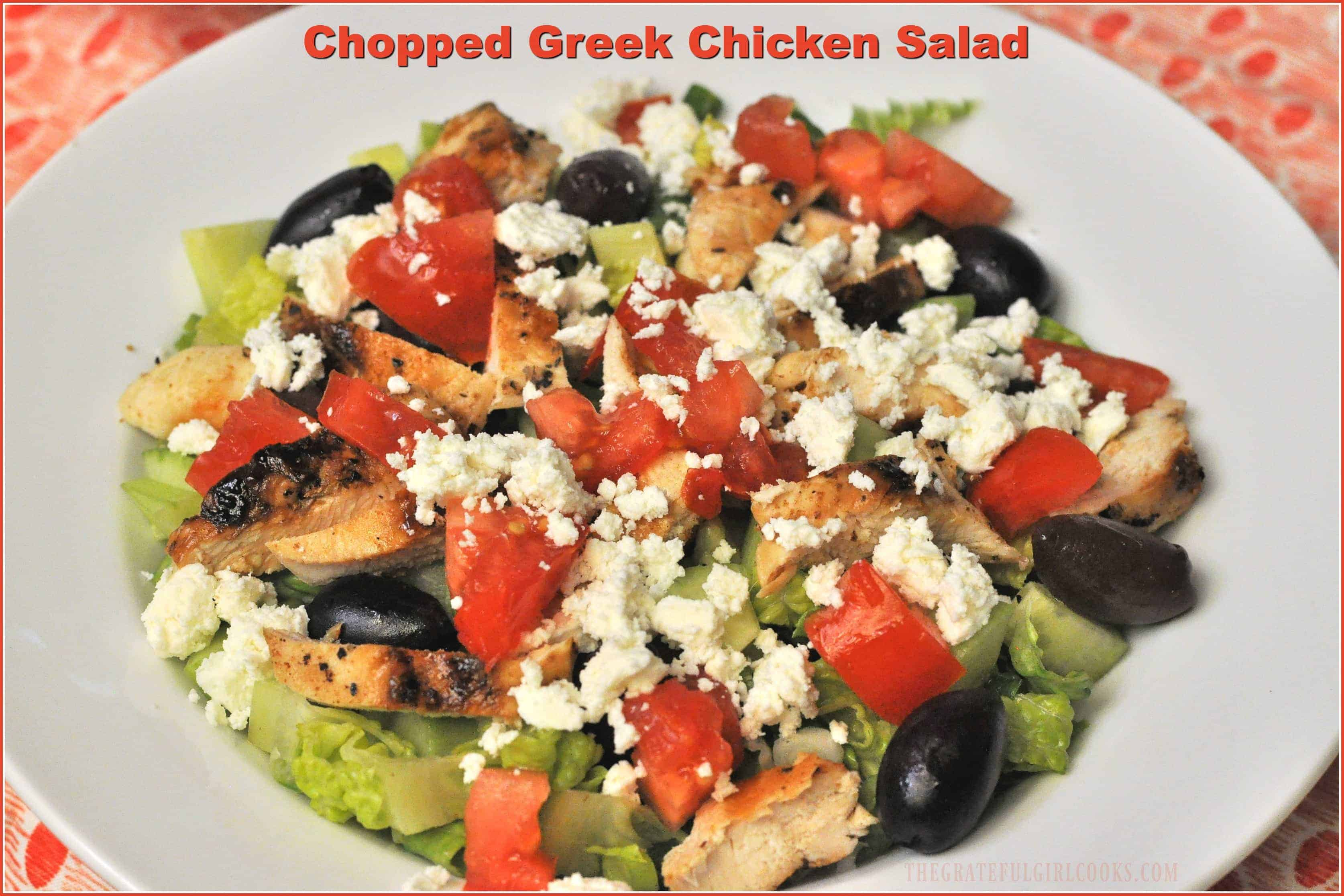 Chopped Greek Chicken Salad / The Grateful Girl Cooks! You will love this Weight Watchers recipe for Chopped Greek Chicken Salad, with grilled chicken, feta cheese, kalamata olives, crunchy cucumbers, and a light vinaigrette!