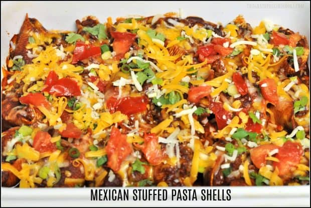 Mexican Stuffed Pasta Shells / The Grateful Girl Cooks! Stuffed pasta shells with a Mexican twist! Seasoned beef, cheese and onion filled shells are baked, and topped with cheese, cilantro, tomatoes, and sour cream!