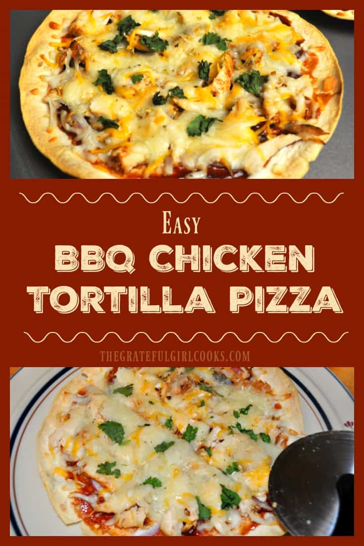 BBQ Chicken Tortilla Pizza / The Grateful Girl Cooks! You're gonna LOVE this BBQ Chicken Tortilla Pizza! Chicken, BBQ sauce, red onion, cilantro and cheese on a baked flour tortilla make a yummy thin crust pizza!