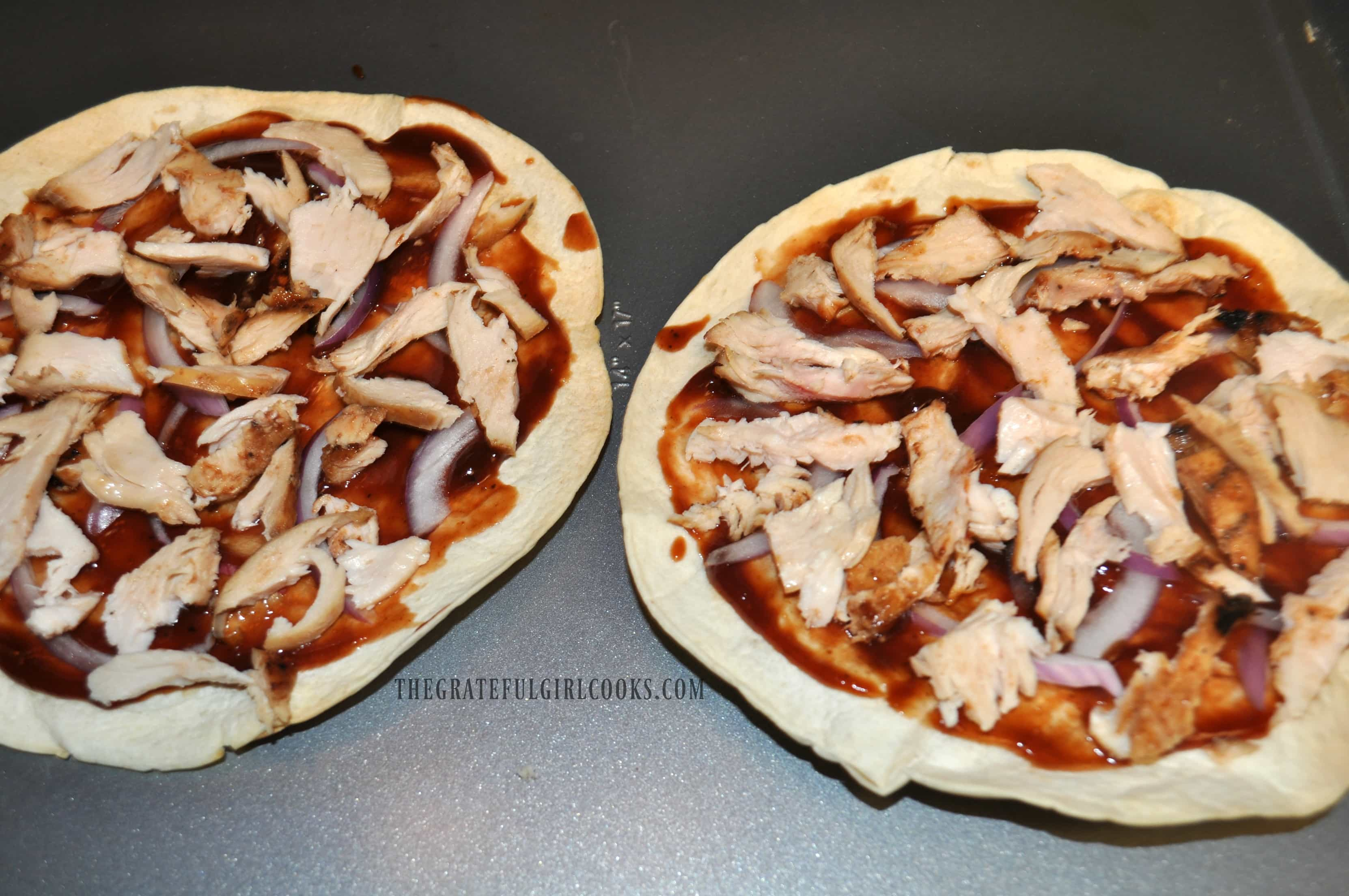 BBQ Chicken Tortilla Pizza / The Grateful Girl Cooks!