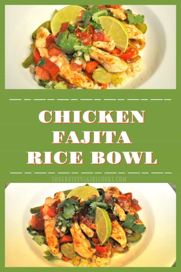 Enjoy this yummy chicken fajita rice bowl, with seasoned chicken, bell peppers, onion, avocado, pico de gallo, cilantro and lime juice on a bed of brown rice.