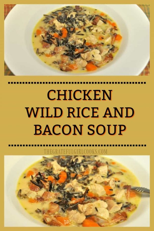 Chicken Wild Rice and Bacon Soup / The Grateful Girl Cooks! Chicken, chewy wild rice, thick-cut bacon, carrots, onions and spices are the backdrop for this easy, delicious, creamy and filling soup!