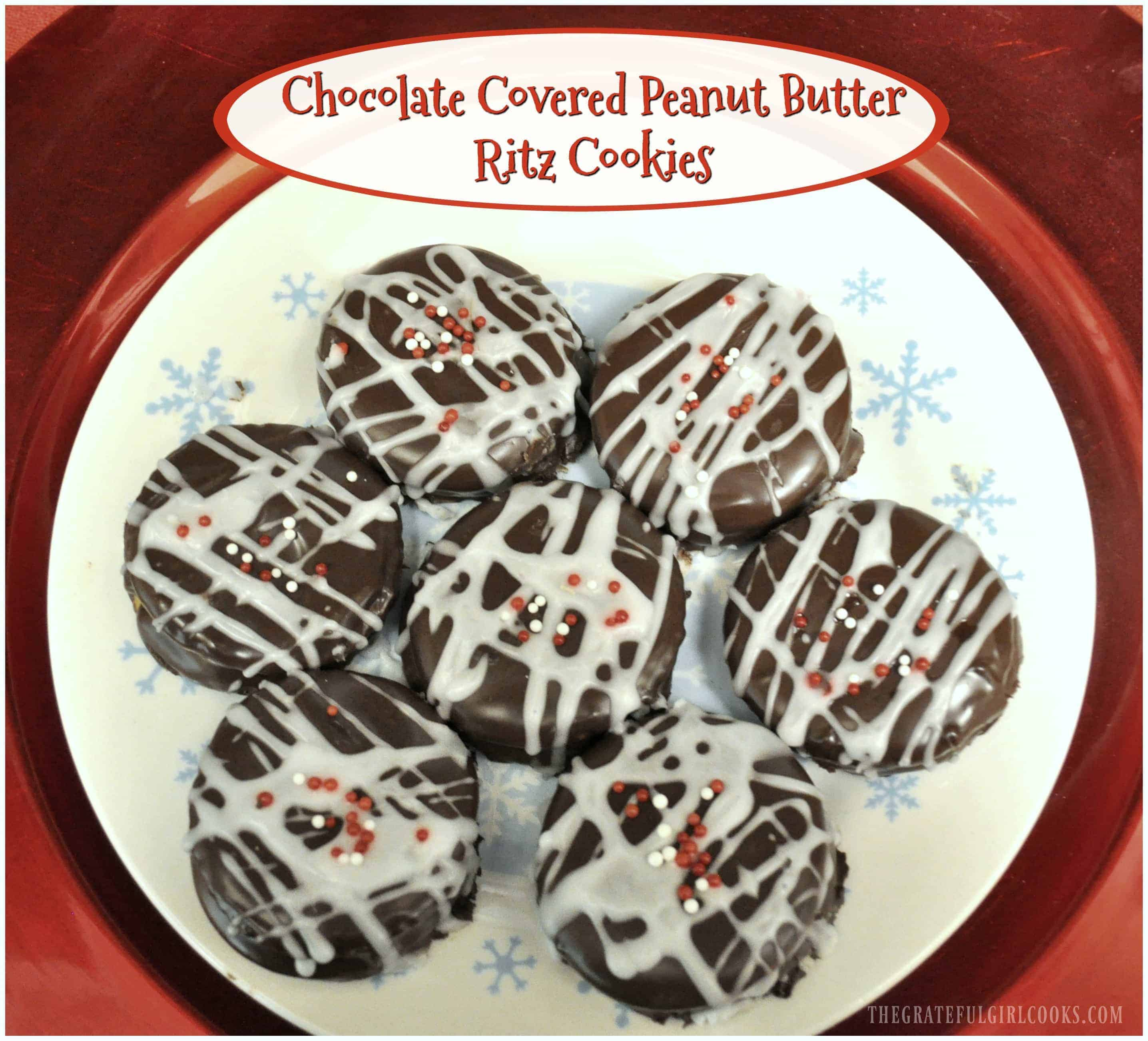 Chocolate Covered Peanut Butter Ritz Cookies / The Grateful Girl Cooks! Crunchy, creamy, peanut butter filled chocolate covered buttery cracker cookies are quick and easy holiday treats to make, using only a few ingredients!
