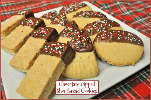 Chocolate Dipped Shortbread Cookies / The Grateful Girl Cooks! Buttery, chocolate-dipped shortbread Christmas treats are a cinch to make in 10 minutes, using store-bought cookies. A real-time-saver for the holidays!