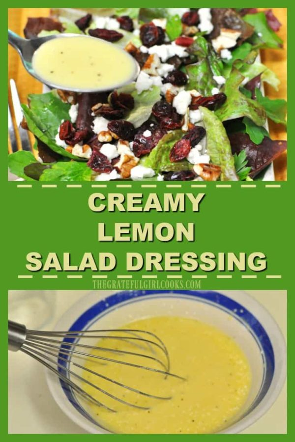 This delicious, creamy lemon salad dressing is easy to make from scratch in a couple minutes, with a few pantry ingredients! Use it on a favorite green salad.