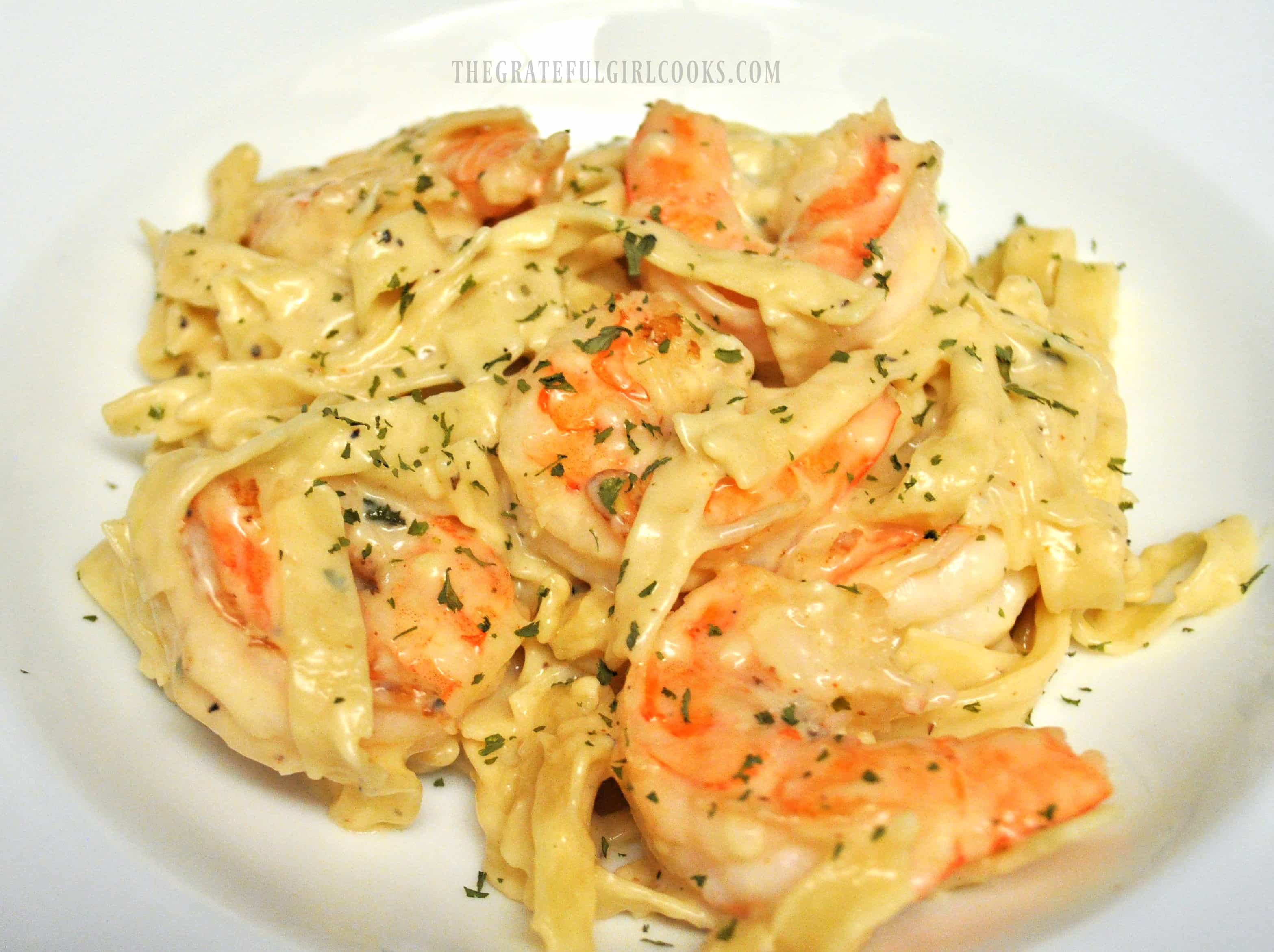 Garlic Parmesan Pasta and Shrimp / The Grateful Girl Cooks! Pan-seared shrimp and fettucine noodles are paired with a creamy garlic Parmesan sauce in this easy to prepare pasta dinner.