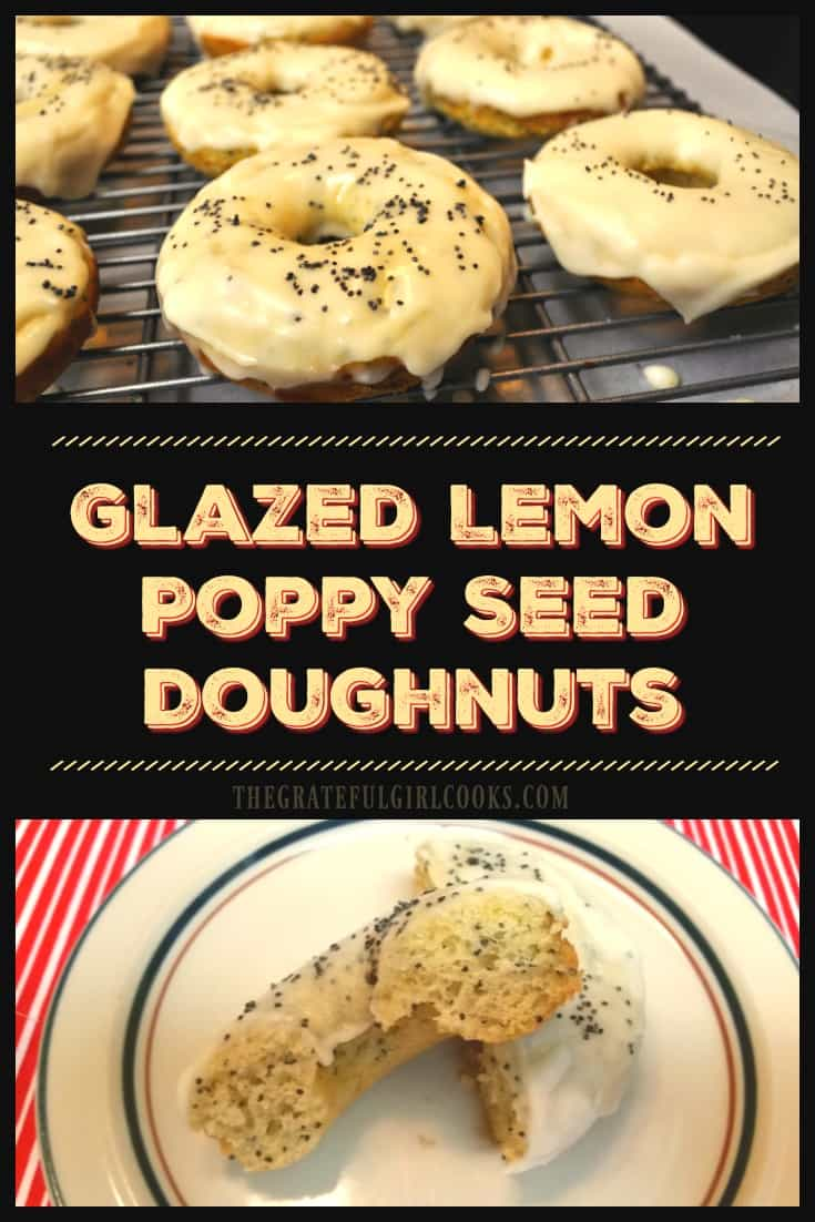 Glazed Lemon Poppy Seed Doughnuts / The Grateful Girl Cooks! These delicious Glazed Lemon Poppy Seed Doughnuts are tangy, sweet, simple to make, and baked (not fried)!