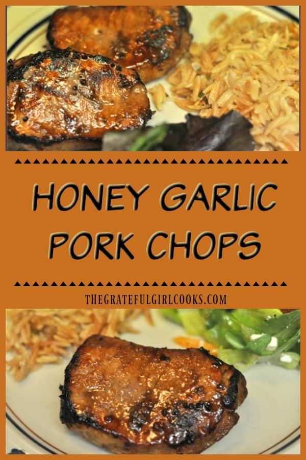 Honey Garlic Pork Chops are marinated in soy sauce, honey, lemon juice, garlic and sherry, and can be grilled or broiled for an easy, delicious dinner!