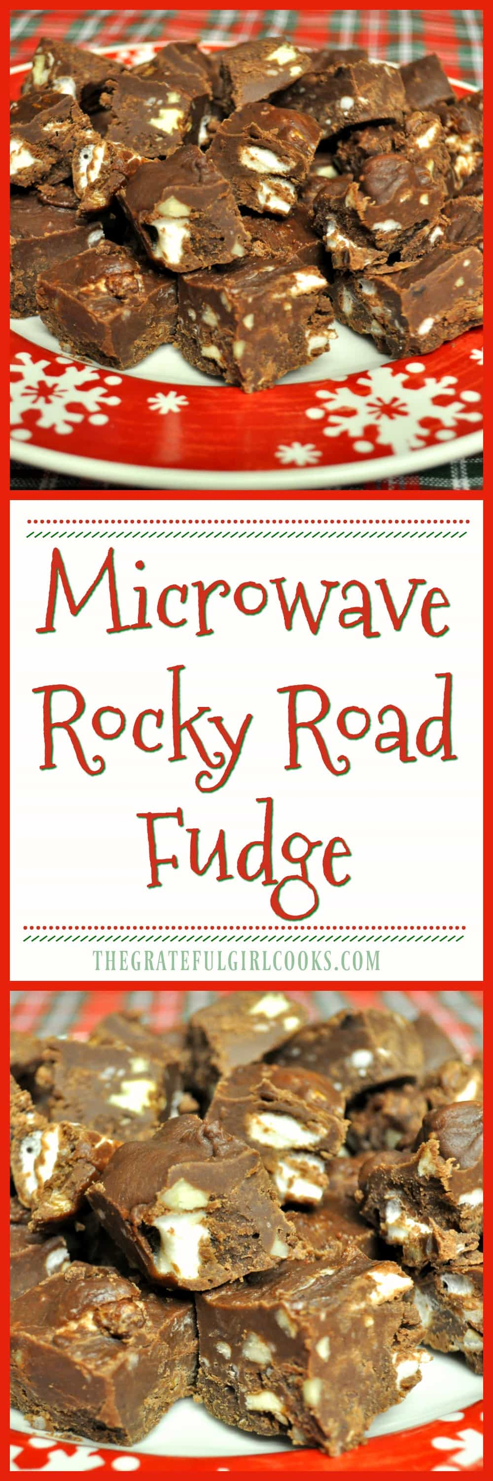 Microwave Rocky Road Fudge / The Grateful Girl Cooks! You'll love this easy, creamy rocky road fudge, with marshmallows and pecans... and it only takes 5 minutes to make in a microwave!