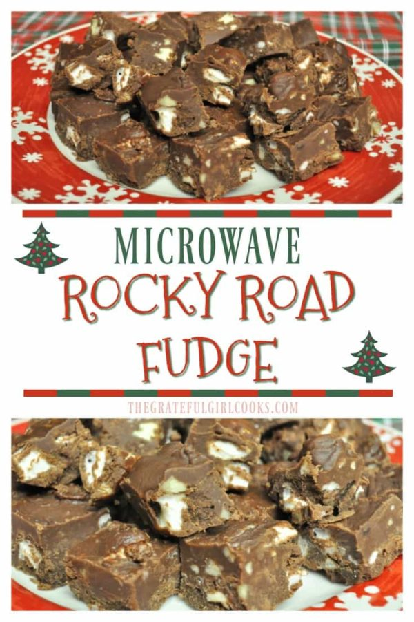 You'll love this easy, creamy microwave rocky road fudge, with marshmallows and pecans! Best part? It only takes 5 minutes to make this treat with a microwave!