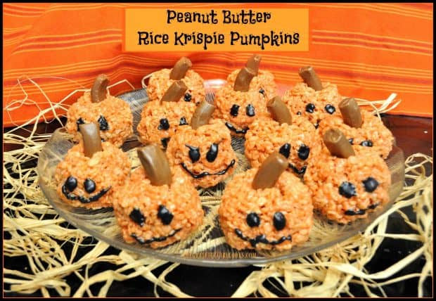 Make these yummy Fall or Halloween themed Peanut Butter Rice Krispie Pumpkins in only 20 minutes! Kids will love making these easy treats!