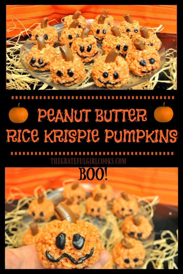 Peanut Butter Rice Krispie Pumpkins / The Grateful Girl Cooks! Make these yummy Fall or Halloween themed Peanut Butter Rice Krispie Pumpkin Treats in only 20 minutes!