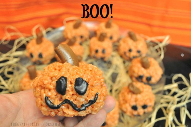 Up close photo of rice krispie pumpkin... BOO!