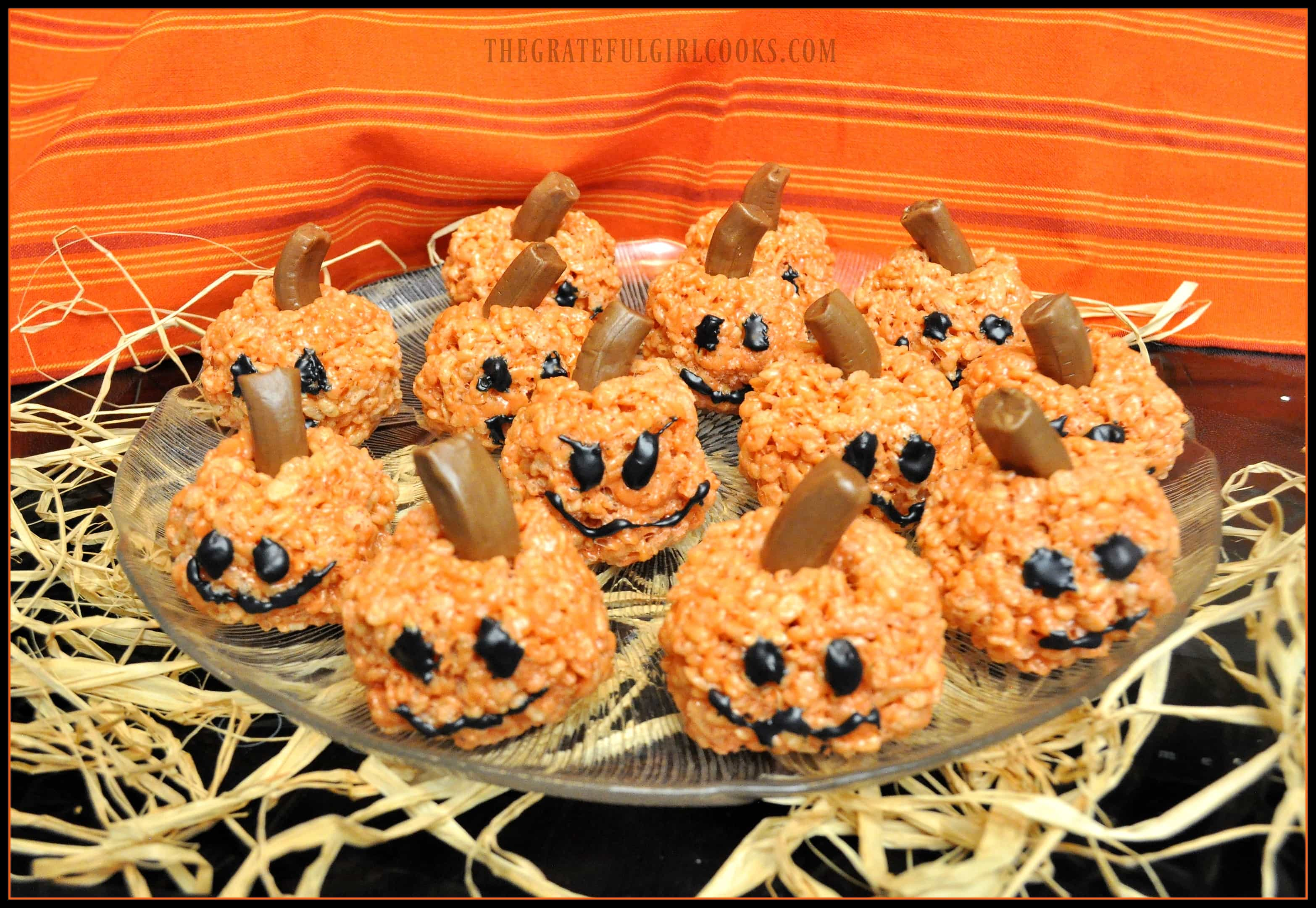 Peanut Butter Rice Krispie Pumpkins / The Grateful Girl Cooks!