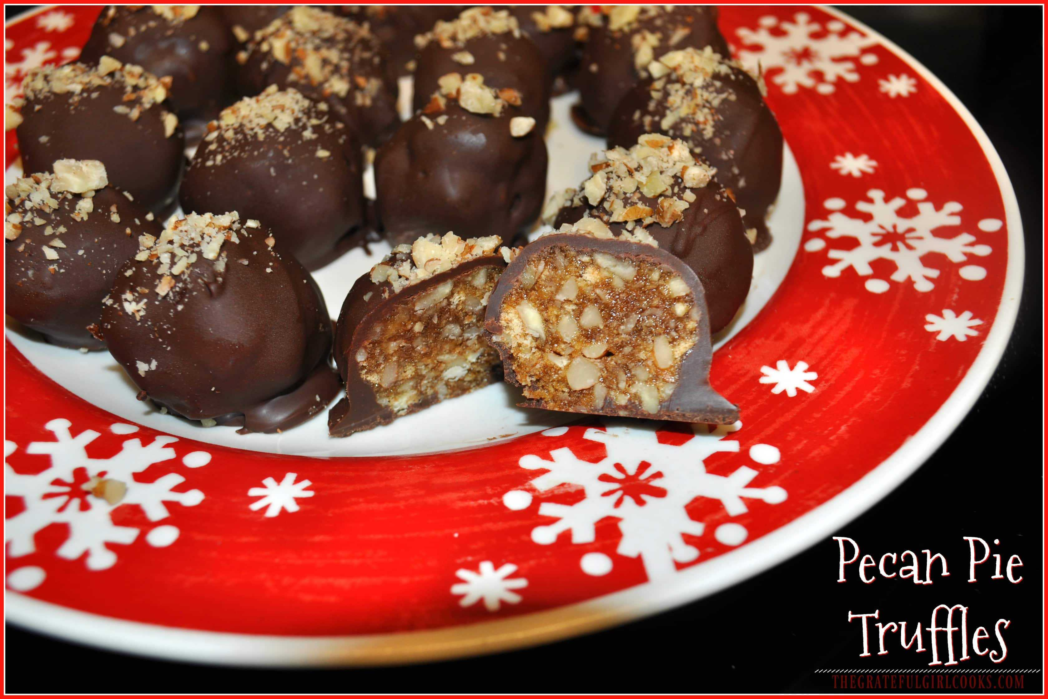 Pecan Pie Truffles / The Grateful Girl Cooks! Chocolate covered Pecan Pie Truffles are a yummy, sweet dessert treat for family or gift-giving during the holidays!