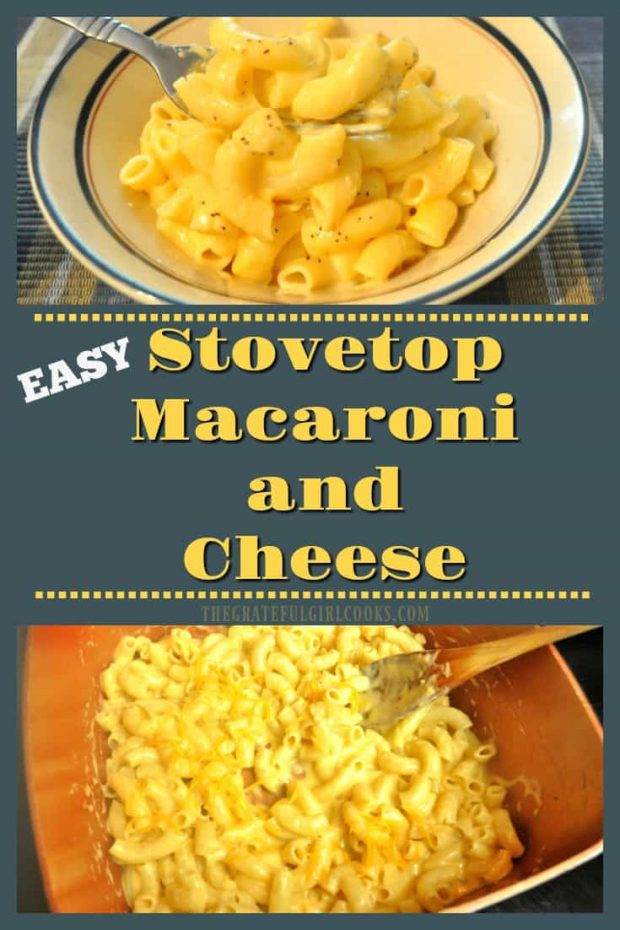Easy Stovetop Macaroni and Cheese / The Grateful Girl Cooks! Macaroni and cheese is a creamy, delicious, family-friendly comfort food - quick and easy to make on the stovetop in 15 minutes!