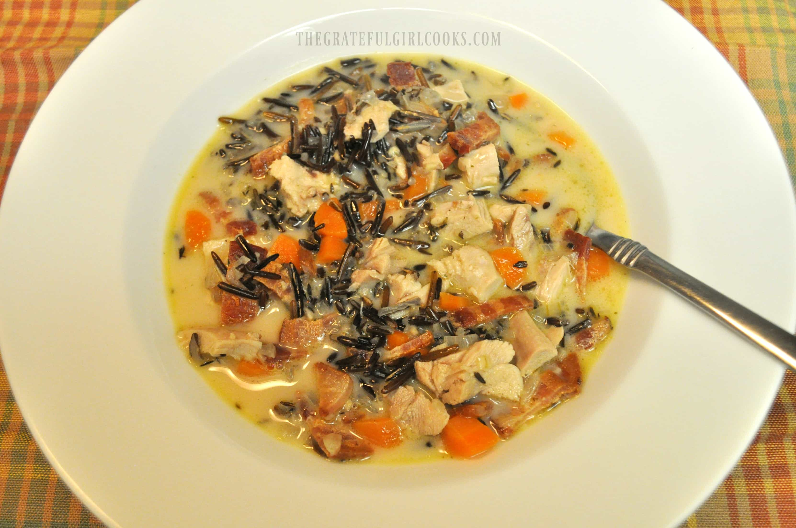 Chicken Wild Rice and Bacon Soup / The Grateful Girl Cooks!