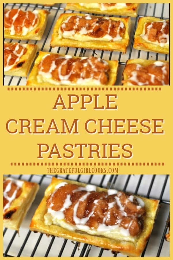 These delicious apple cream cheese pastries are easy to make baked puff pastry sheets, topped with a sweet cream cheese spread, apple pie filling, and vanilla icing!