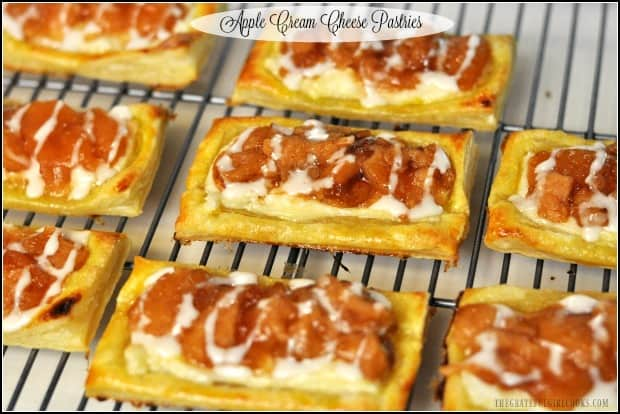 Apple cream cheese pastries are easy to make baked puff pastry sheets, topped with a sweet cream cheese spread, apple pie filling, and vanilla icing!