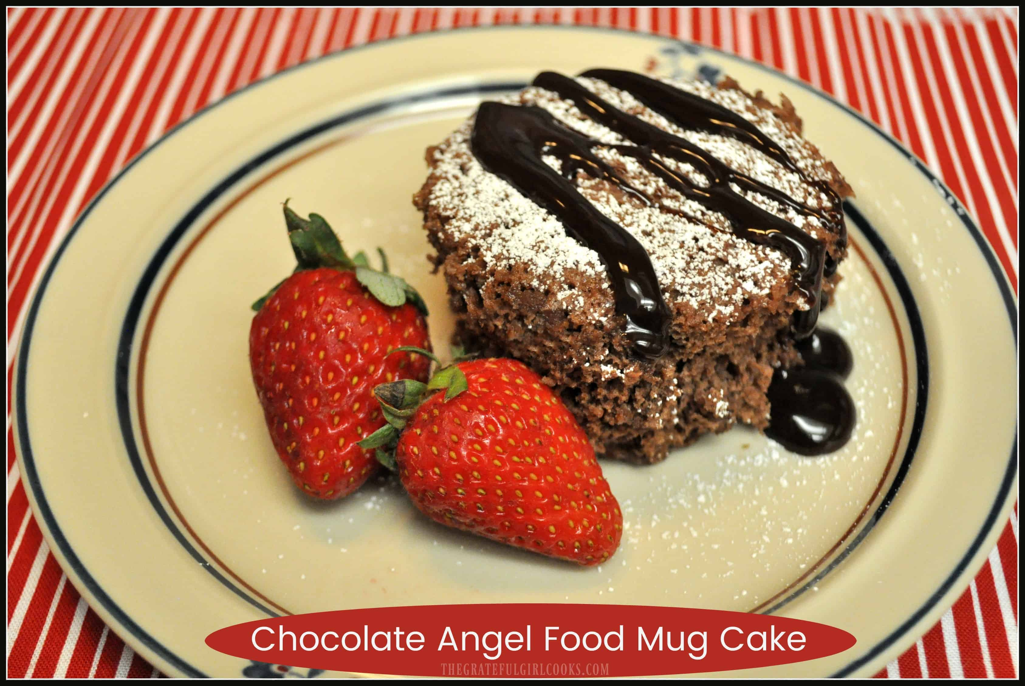 "Chocolate Angel Food Mug Cake / The Grateful Girl Cooks! Make a master mix with two ingredients , then enjoy an easy ""low-calorie"" chocolate mug cake any time you want, cooked for only ONE MINUTE in a microwave!"