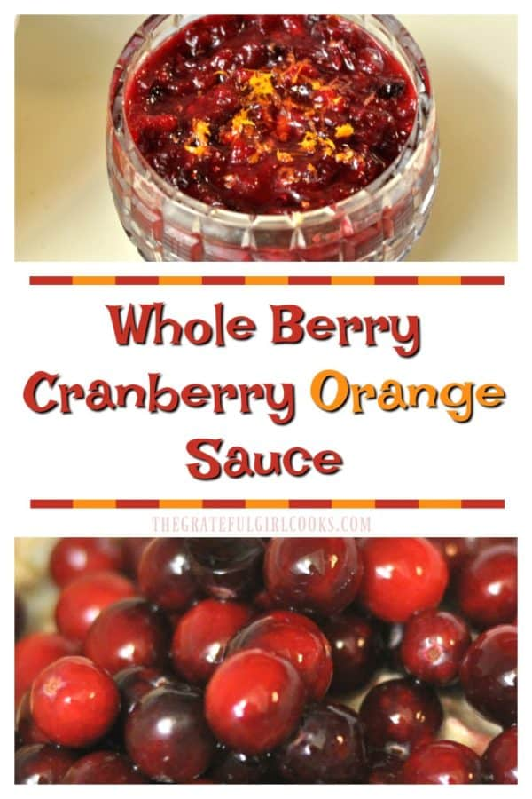This flavorful whole berry cranberry orange sauce is a wonderful side dish for Thanksgiving! It's incredibly easy to make, with only a few ingredients!