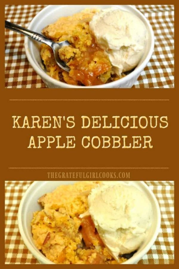 Four ingredients and thirty minutes is all you need to make this EASY and delicious apple cobbler for dessert!