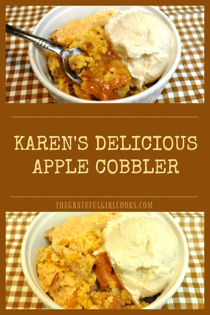 Karen's Delicious Apple Cobbler / The Grateful Girl Cooks! Four ingredients and thirty minutes is all you need to make this EASY and delicious apple pie cobbler for dessert!