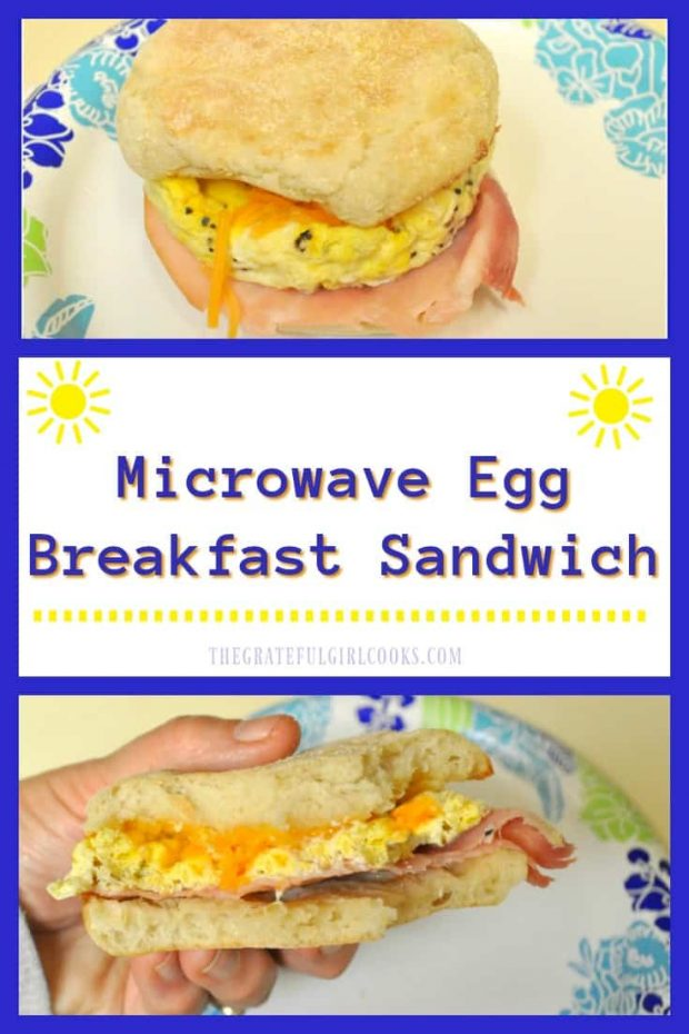 Microwave Egg Breakfast Sandwich / The Grateful Girl Cooks! Need a QUICK breakfast? Try this hearty 2 minute breakfast sandwich that's made in a microwave, with egg, ham and cheese on a toasted english muffin!