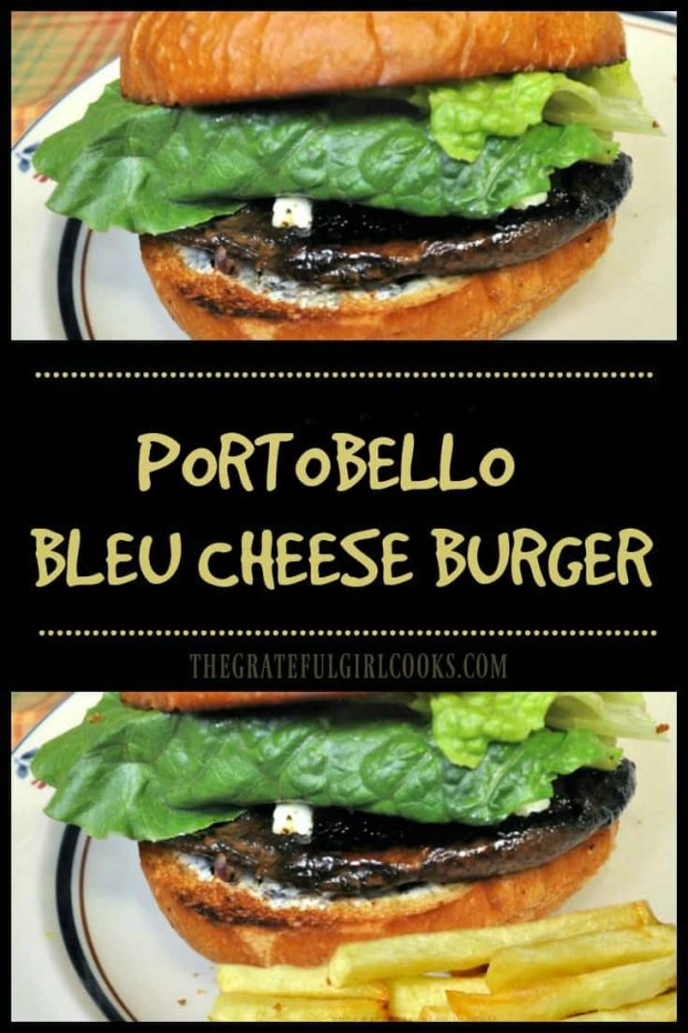 "Looking for a flavorful ""meatless"" burger? Try this marinated Portobello Bleu Cheese Burger, with grilled onions, bleu cheese, and creamy Dijon sauce!"