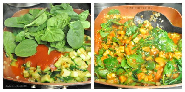 Fresh spinach is added to zucchini marinara sauce to wilt down