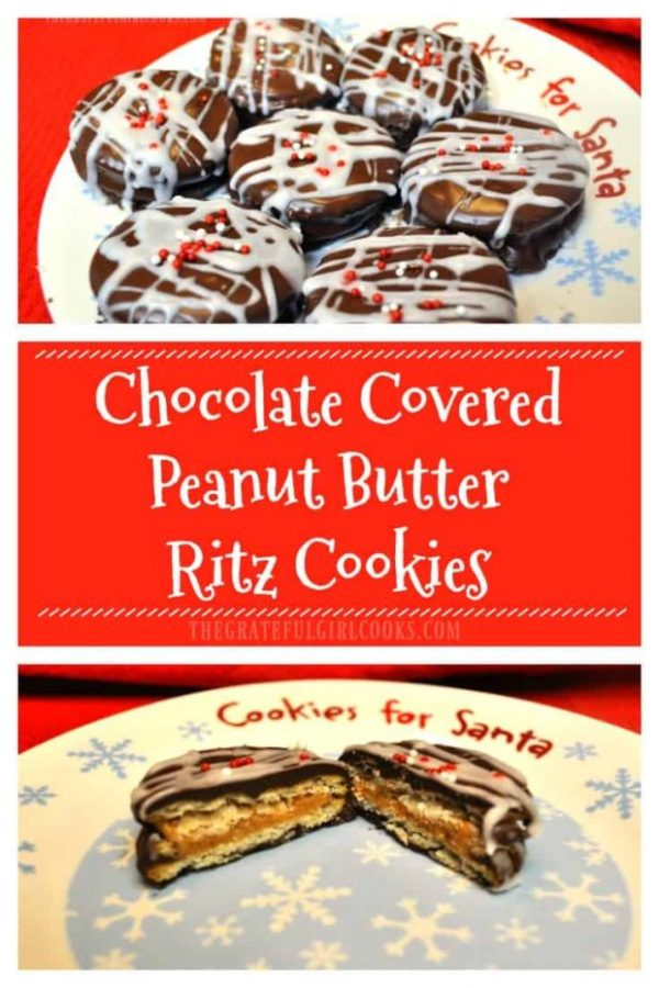 Crunchy, creamy, chocolate covered peanut butter ritz cookies are quick, delicious, and totally EASY holiday treats to make, using only a few ingredients!