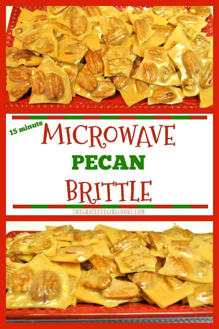 Microwave Pecan Brittle is a time-saving twist on a classic candy! This delicious, crunchy holiday treat is easy to make in 15 minutes, using a microwave!