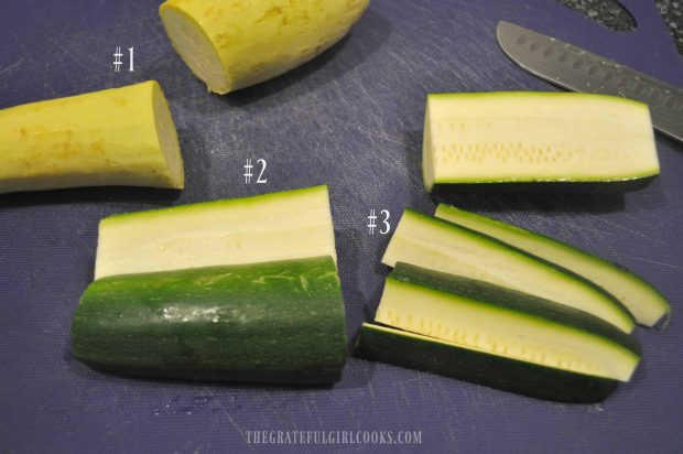 Zucchini and yellow squash are cut into plank shapes using 3 steps, as shown.