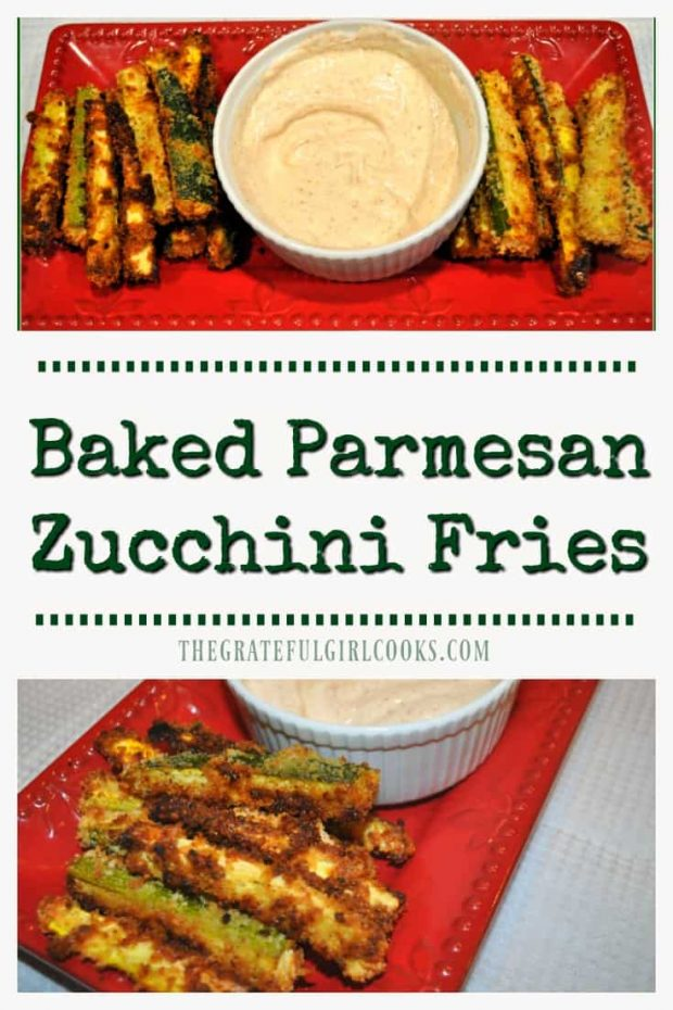 "Baked Parmesan Zucchini Fries / The Grateful Girl Cooks! Baked Parmesan Zucchini Fries are a delicious side dish or appetizer! Baked until crispy, and served with dipping sauce, these ""fries"" will be a big hit!"